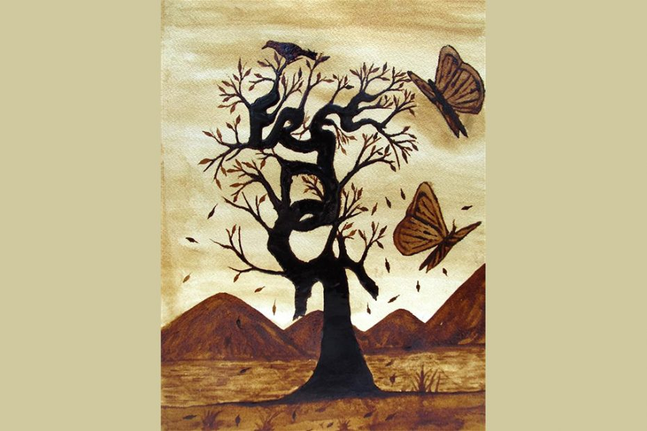 Painting of a tree with large butterflies