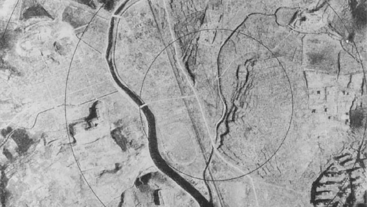 Aerial view of Nagasaki after the bombing