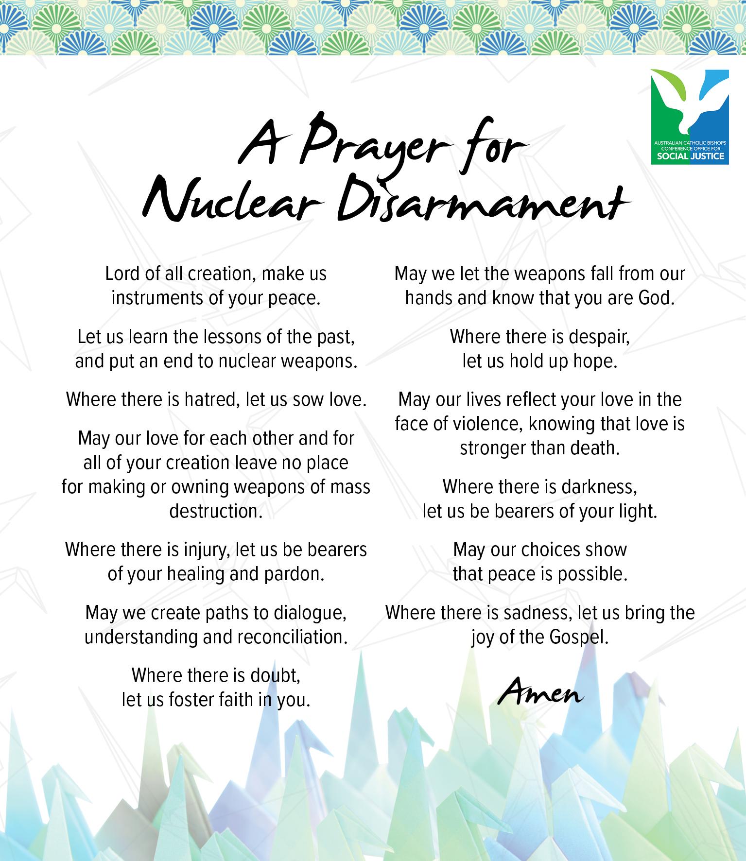 nuclear disarmament prayer card