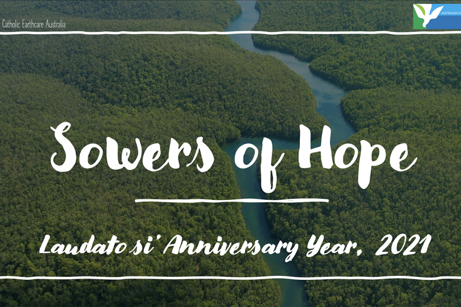 Sowers of Hope text over an image of Mountains from above