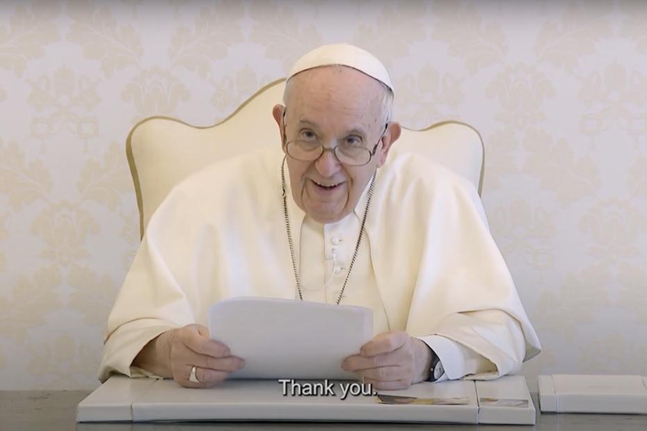 Pope Francis smiling at camera