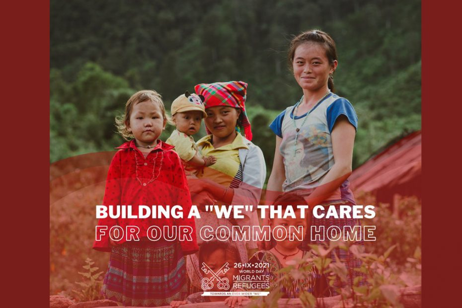"""Four children look to camera with text super imposed infront of them that reads """"Building a 'We' that cares"""